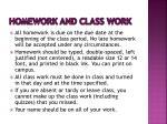 homework and class work