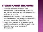 student planner benchmarks