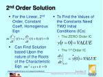 2 nd order solution