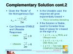 complementary solution cont 2