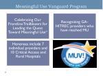 meaningful use vanguard program