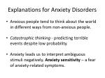 explanations for anxiety disorders1