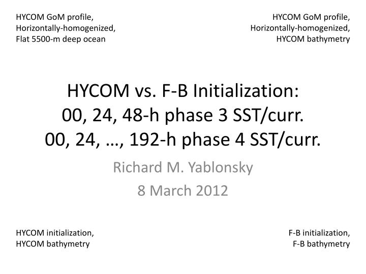 hycom vs f b initialization 00 24 48 h phase 3 sst curr 00 24 192 h phase 4 sst curr n.