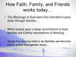 how faith family and friends works today