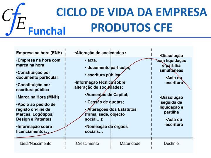 CICLO DE VIDA DA EMPRESA PRODUTOS CFE