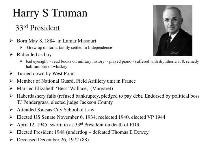 Harry s truman 33 rd president