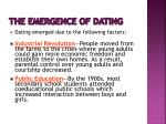 the emergence of dating