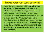 how to keep from being deceived