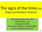 the signs of the times 4 sings and wonders miracles