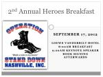 2 nd annual heroes breakfast