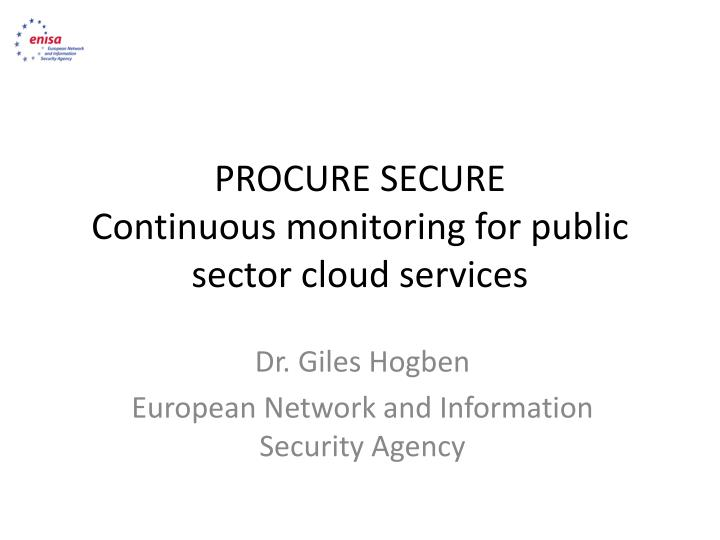 procure secure c ontinuous monitoring for public sector cloud services n.
