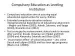 compulsory education as leveling institution