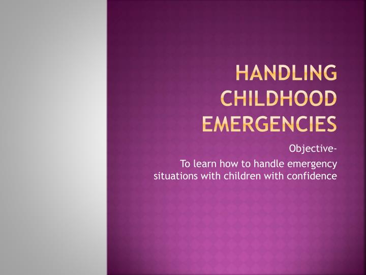 handling childhood emergencies n.