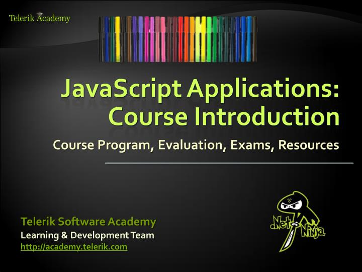 Javascript applications course introduction