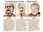 contributions cont philosophy