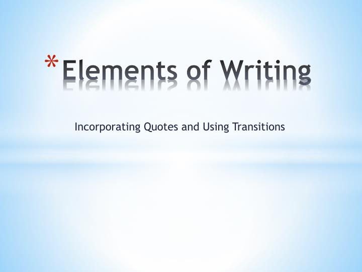 elements of writing n.