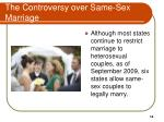 the controversy over same sex marriage