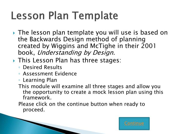 Ppt Writing Lesson Plans Using The Backward Design Template
