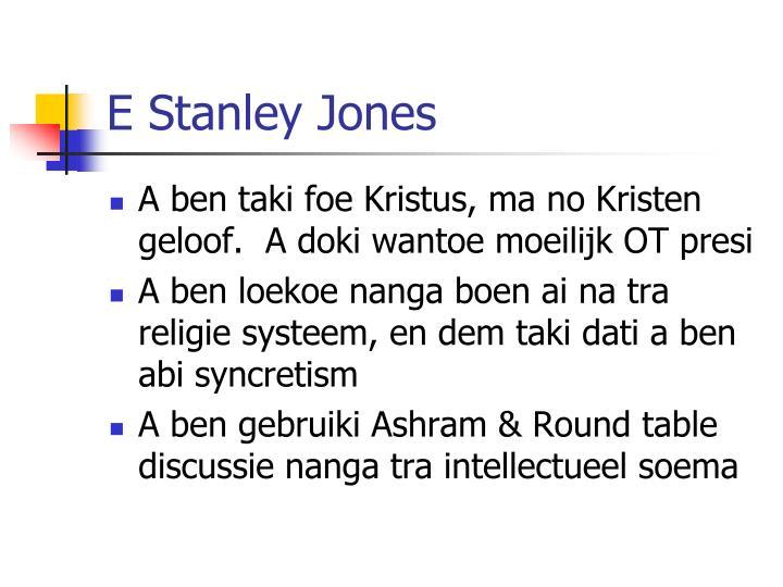 E Stanley Jones