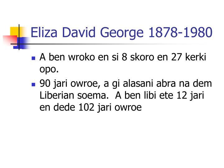 Eliza David George 1878-1980