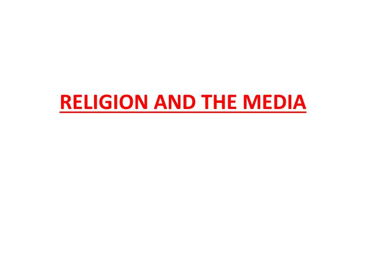 religion and the media n.