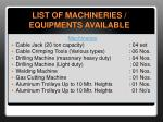 list of machineries equipments available