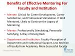benefits of effective mentoring for faculty and institution
