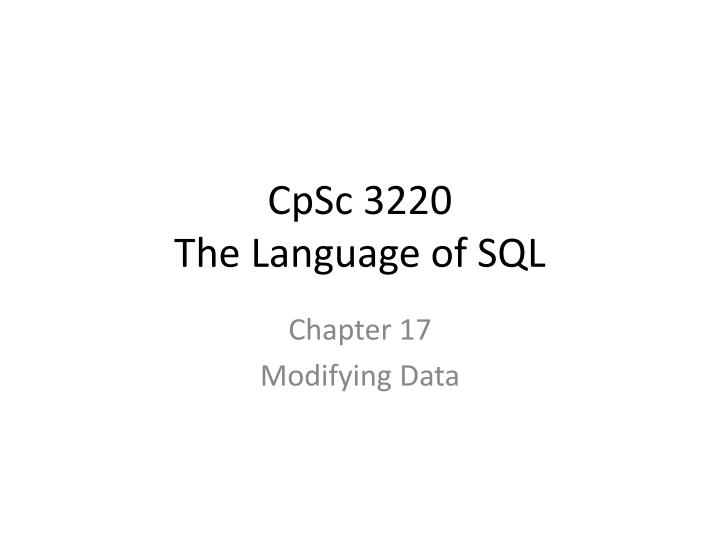 cpsc 3220 the language of sql n.