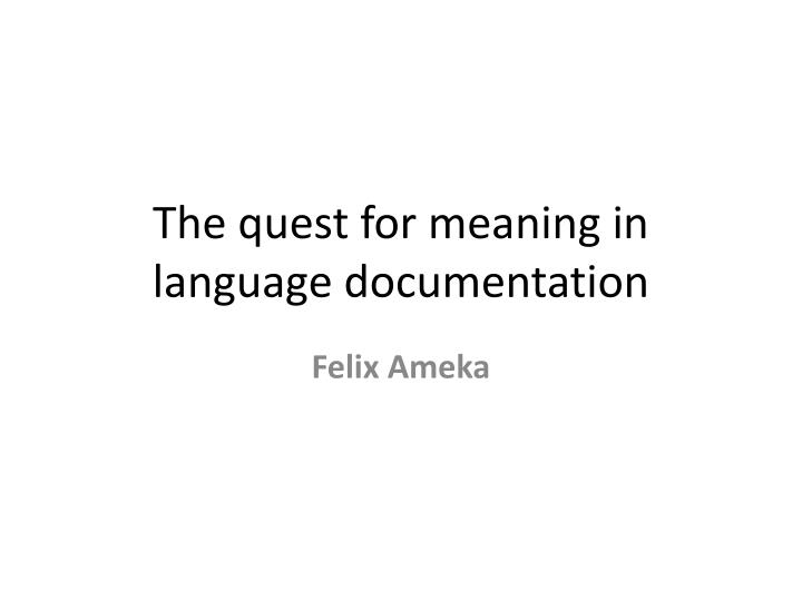 the quest for meaning in language documentation n.
