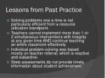 lessons from past practice