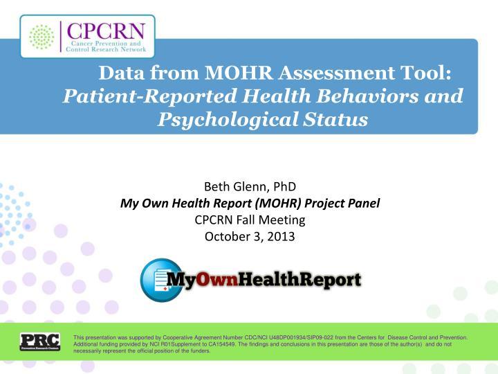 Data from MOHR Assessment Tool: