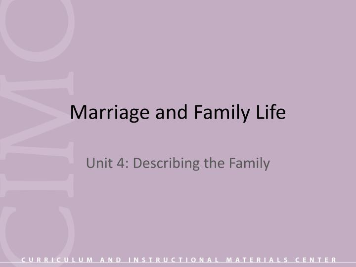 marriage and family life n.