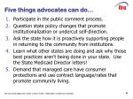 five things advocates can do