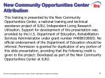 new community opportunities center attribution