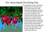 the great kapok the giving tree