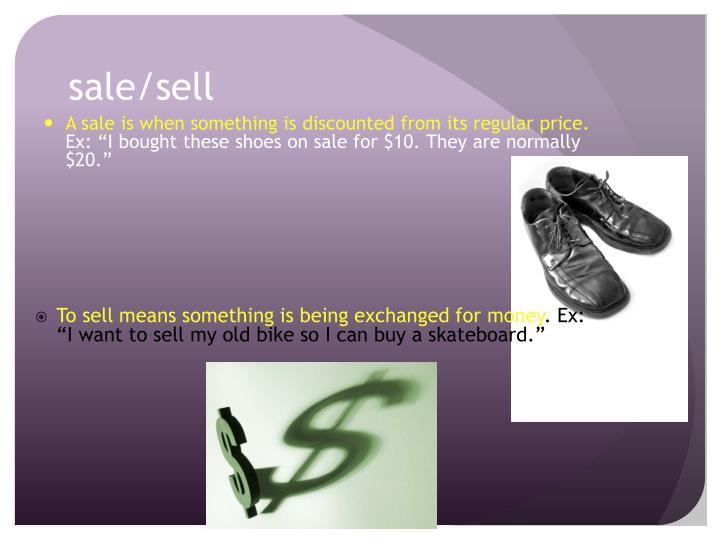 sale/sell