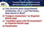 curation of annotation in one genome or a set of genomes