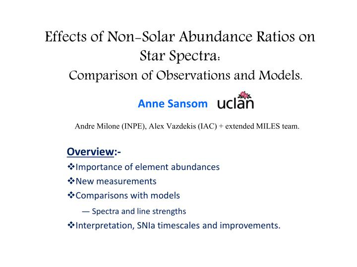 effects of non solar abundance ratios on star spectra comparison of observations and models n.