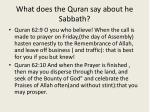 what does the quran say about he sabbath