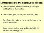i introduction to the hebrews continued