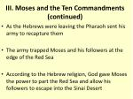 iii moses and the ten commandments continued