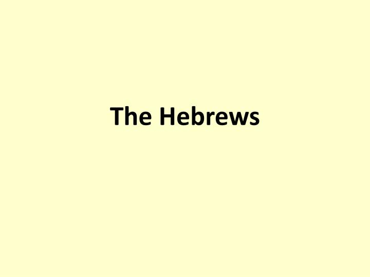 the hebrews n.