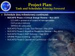 project plan task and schedules moving forward