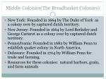 middle colonies the breadbasket colonies