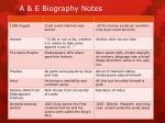a e biography notes