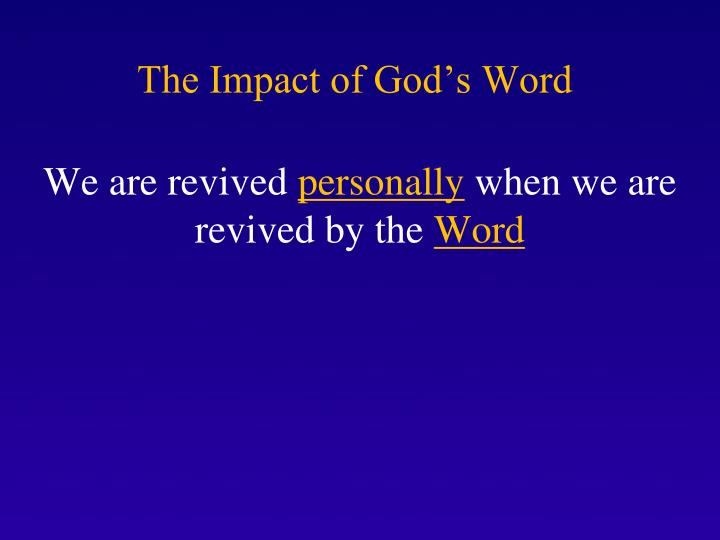 The Impact of God's Word
