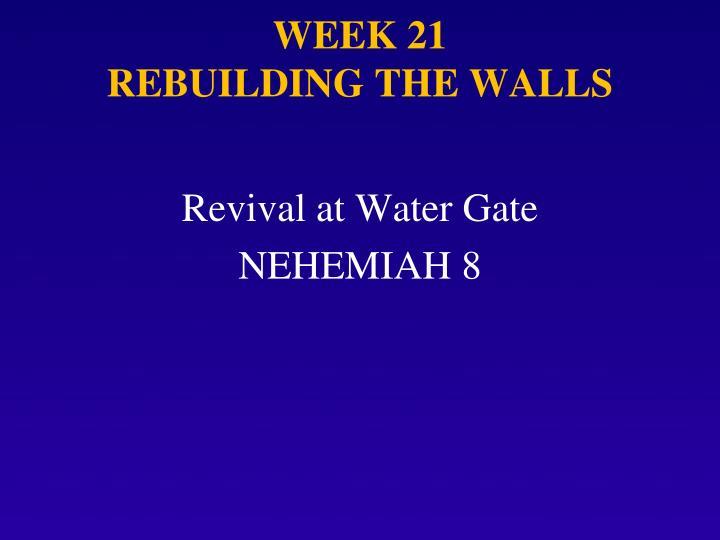 Week 21 rebuilding the walls