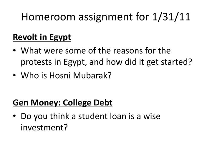 homeroom assignment for 1 31 11 n.