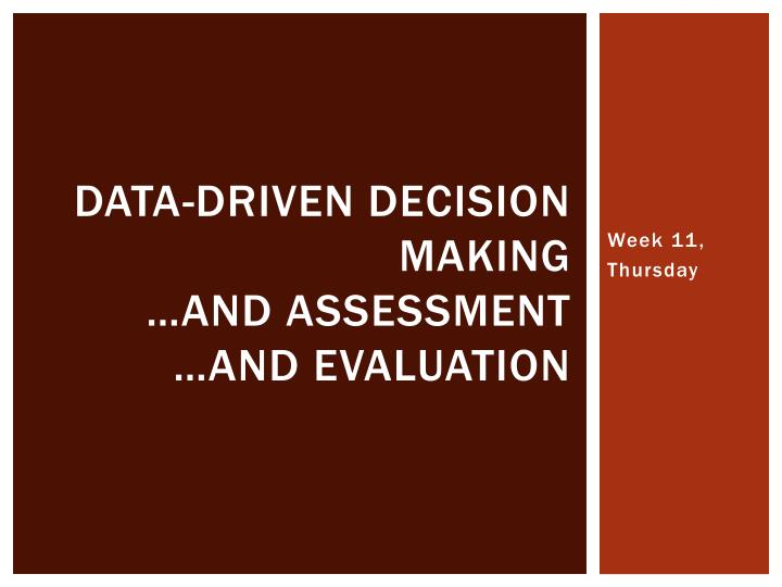 data driven decision making and assessment and evaluation n.