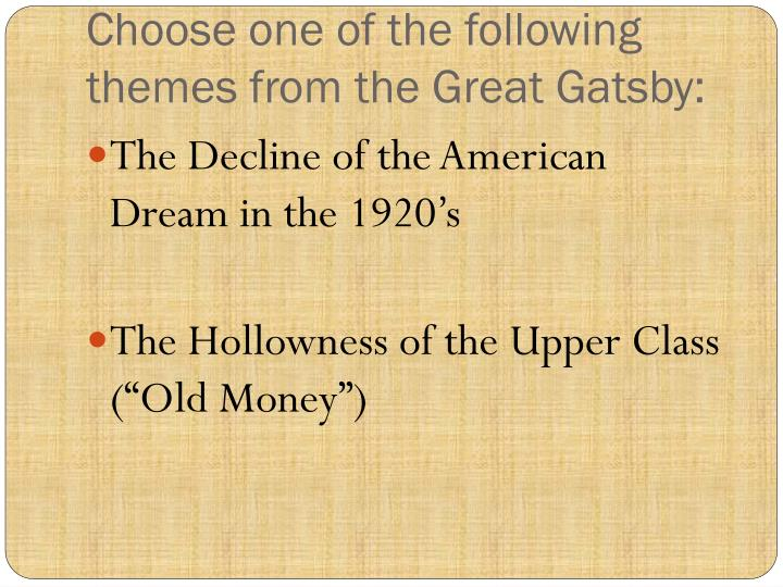 social classes in the great gatsby essay The conflict of social classes as represented in fscott fitzgerald's the great gatsby by santi ramdhani great gatsby essay questions.